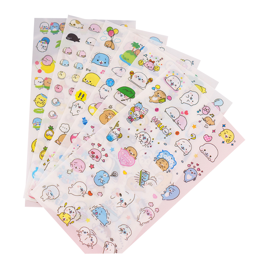 6pcs/lot Kawaii Cartoon Sea Lion&Big Ear Dog DIY Scrapbooking PVC Stickers For Planner Bullet Journal Decoration Stationery