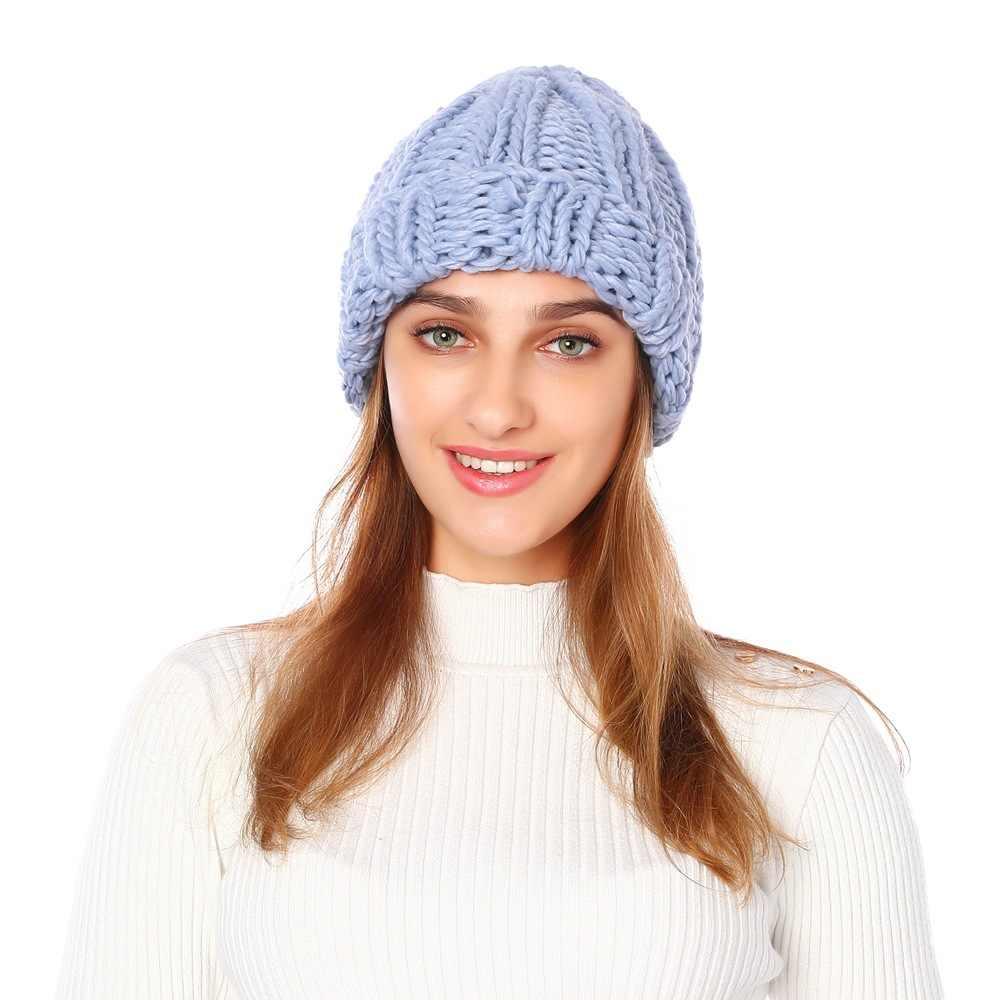 2019 yeni kadın örme kalınlaşmak sıcak kap kış şapka kadınlar için Beanies pembe gri şapka kadın açık siyah yumuşak Gorros kap
