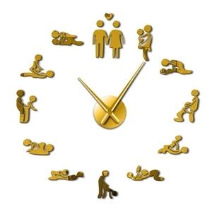 Горячие сексуальные позы для взрослых декоративные настенные часы DIY секс любовь действие безрамные большие настенные часы искусство Деко...