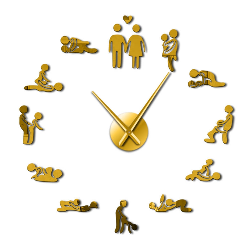 Hot Sexy Pose Adult Room Decorative Wall Clock DIY Sex Love Action Frameless Large Wall Clock Art Decorative Mirror Sticker Cloc(China)