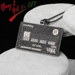 Image 2 - Full Iced Out Credit Card Pendant Necklace Mens Gold Silver Color Hip Hop Jewelry With Tennis Chain Charm CZ Jewelry Gifts
