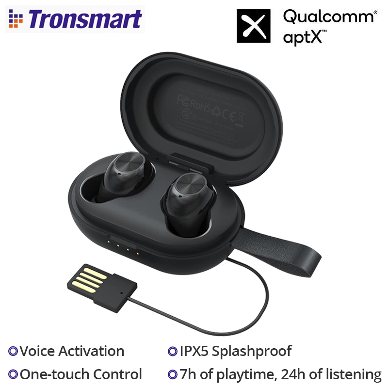 Tronsmart Spunky Beat Bluetooth 5.0 TWS Earphone Qualcomm QCC3020 CVC 8.0 Voice Activation Wireless Earbuds IPX5 Splashproof image