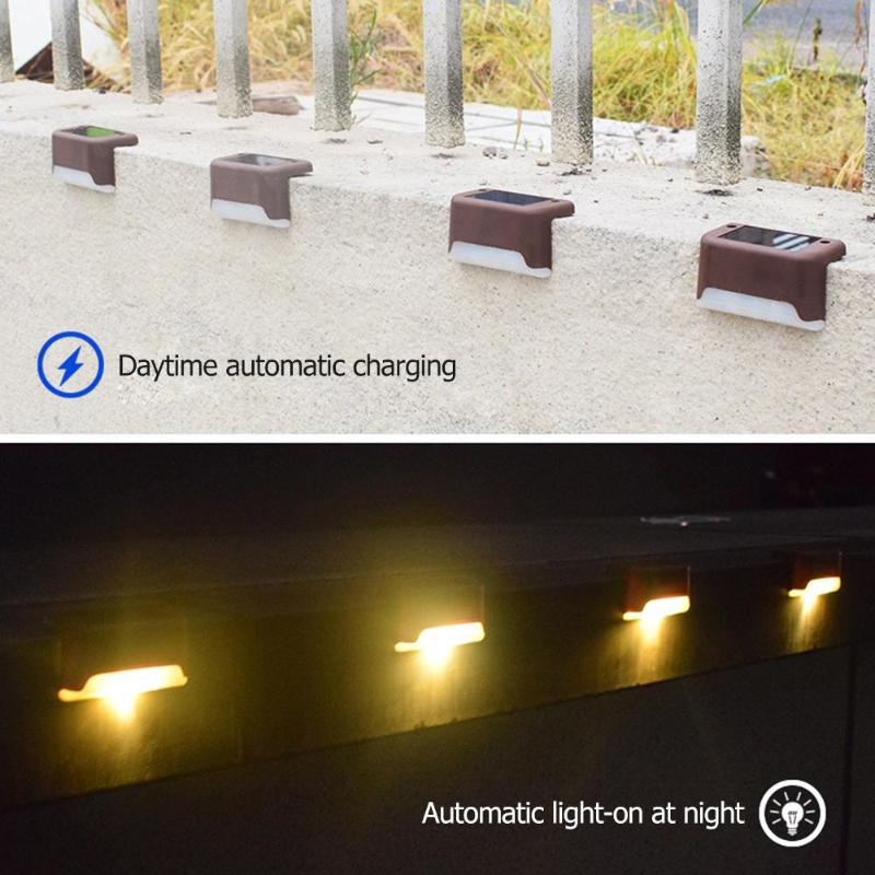 4Pcs Led Solar Deck Lights Waterproof Outdoor Pathway Yard Stairs Fence Lamps Garden Powered Wall Lamp Outdoor Led Solar Light