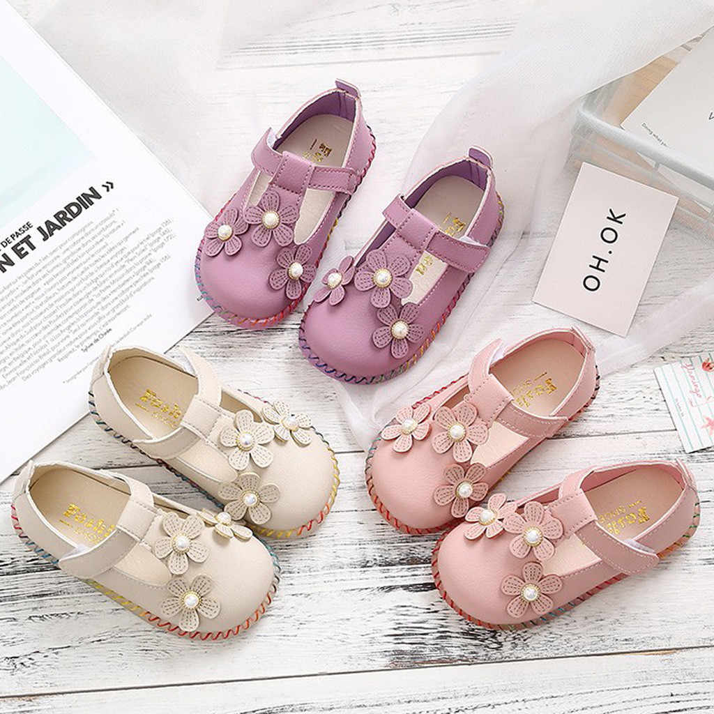 Toddler Kid Children Baby Girl Flower Sandals Sneaker Solid Casual Single Shoes