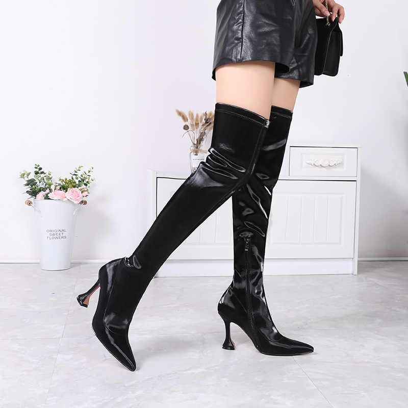 Doris Fanny sivri burun kadınlar diz çizmeler üzerinde büyük boy uyluk yüksek çizmeler bayanlar siyah uzun çizmeler kış ayakkabı