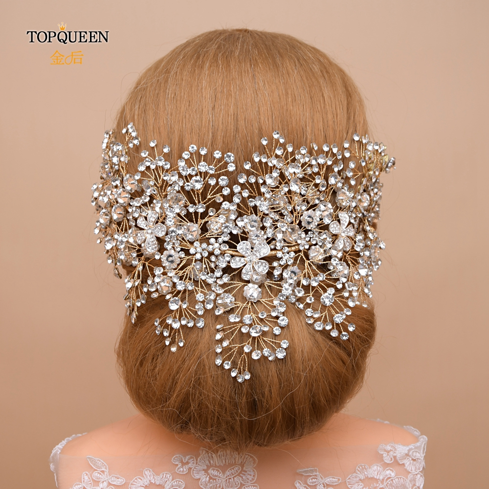 TOPQUEEN HP240-G Golden Wedding Headpiece Handmade Rhinestone Wedding Crown For Party Luxury Crystal Wedding Hair Jewelry