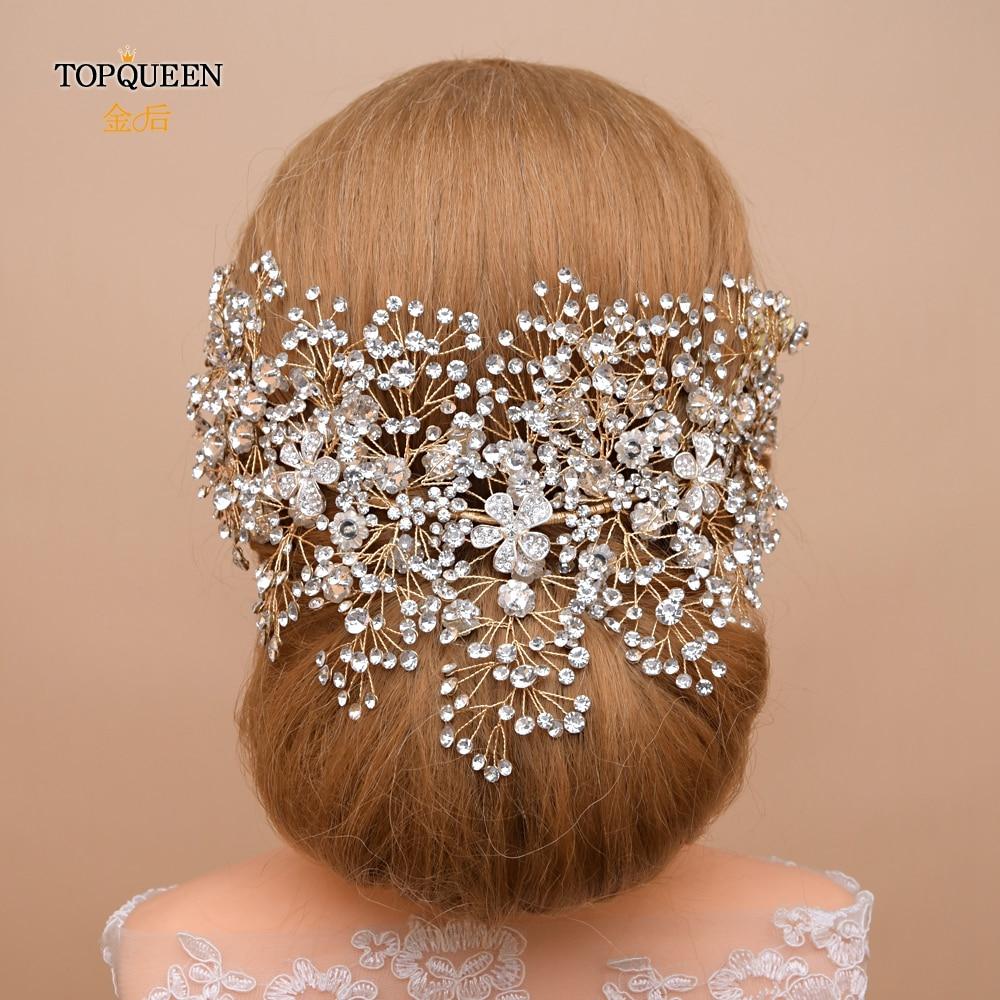 TOPQUEEN HP240-G Golden Wedding Headpiece Handmade Rhinestone Wedding Crown For Party Luxury Crystal Wedding Hair Jewelry