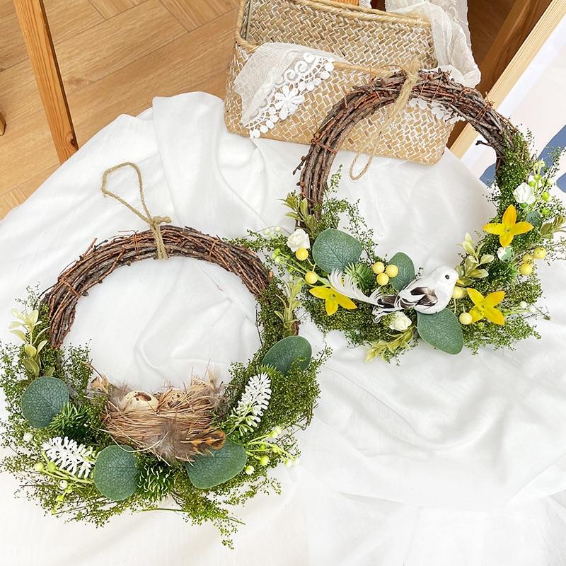 25cm Ostern kranz künstliche nest vogel blumen girlande glücklich Ostern dekor für home garten dove Eukalyptus kranz baby dusche