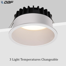 [DBF]2020 Frameless 3 Light Temperatures Changeable Recessed LED Downlight 7W 10W 12W 15W Round LED Ceiling Spot Light Bedroom