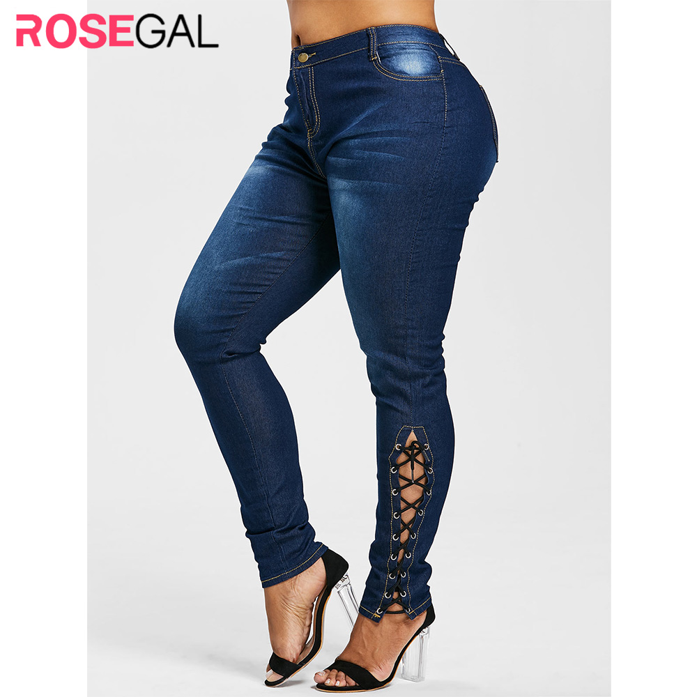 Rosegal Plus Size Zipper Fly Side Lace Up Jeans Skinny High Waist Pockets Denim Pant Women Jeans Pencil Pants Trousers Big Size