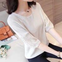 Blusas mujer de moda blusas mujer Fashion 2019 tops y blusas para mujer cuello redondo Regular de tres cuartos camisetas tejidas para mujer 5309 50