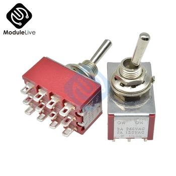 MTS-402 6mm Toggle Switch Single Pole Double Throw SPDT ON-ON 120VAC 6A 1/4 Inch Mounting 13*22MM  (MTS402) 2Positions 12Pins - discount item  15% OFF Electrical Equipment & Supplies