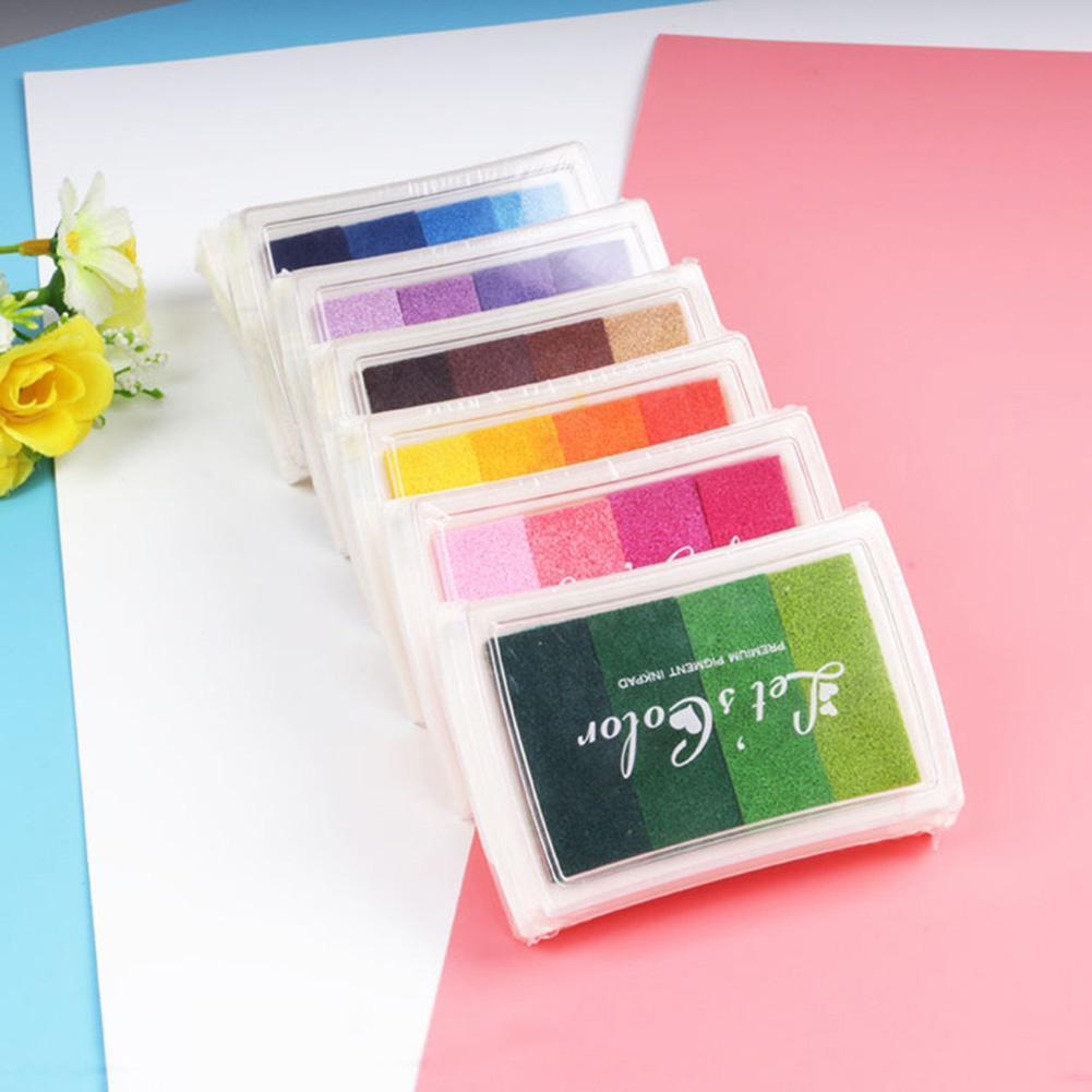 1PCS 6style Inkpad Ink Stamp Pad Colorful Cartoon Craft Inkpad Set For DIY Funny Work Fingerprint Scrapbooking Accessories
