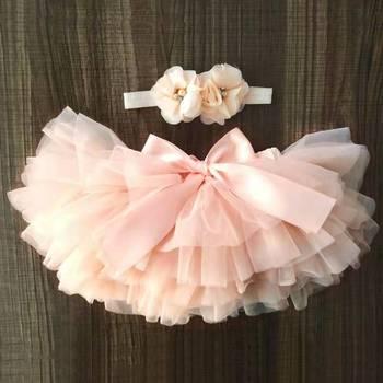 Платье для маленьких девочек с вуалью и балетной пачкой штаны-шаровары, для младенцев, для новорожденных, Подгузники крышка 2 шт. короткая юбка + оголовье, набор юбки для девочек одежды для детей с рисунком радуги, юбка