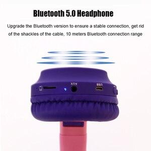 Image 4 - Kinder Bluetooth 5,0 Kopfhörer LED licht Katze Ohren Headset Drahtlose Kopfhörer HIFI Stereo Bass kopfhörer für Handys mit mikrofon