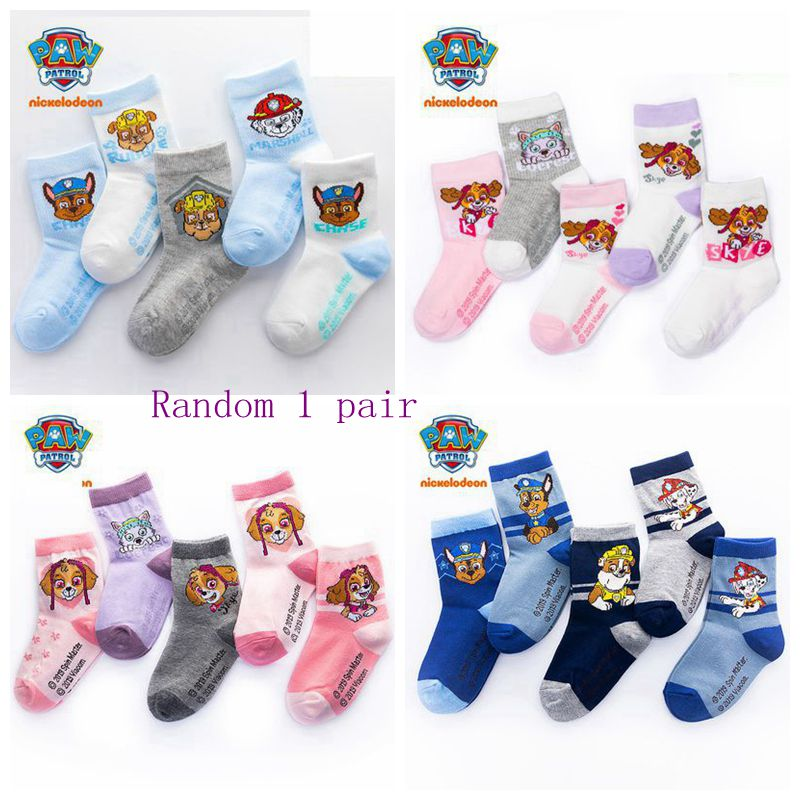2pcs=1pairs Genuine Paw Patrol Socks Kids Cute Winter Warm Socks Action Children Birthday Chrismas Gift Kids1-12 Year
