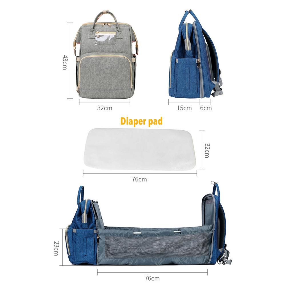 Diaper Bag Moms And Dads Backpack Multifunctional Folding Baby Bed Bags Maternity Nursing Handbag Stroller Bag