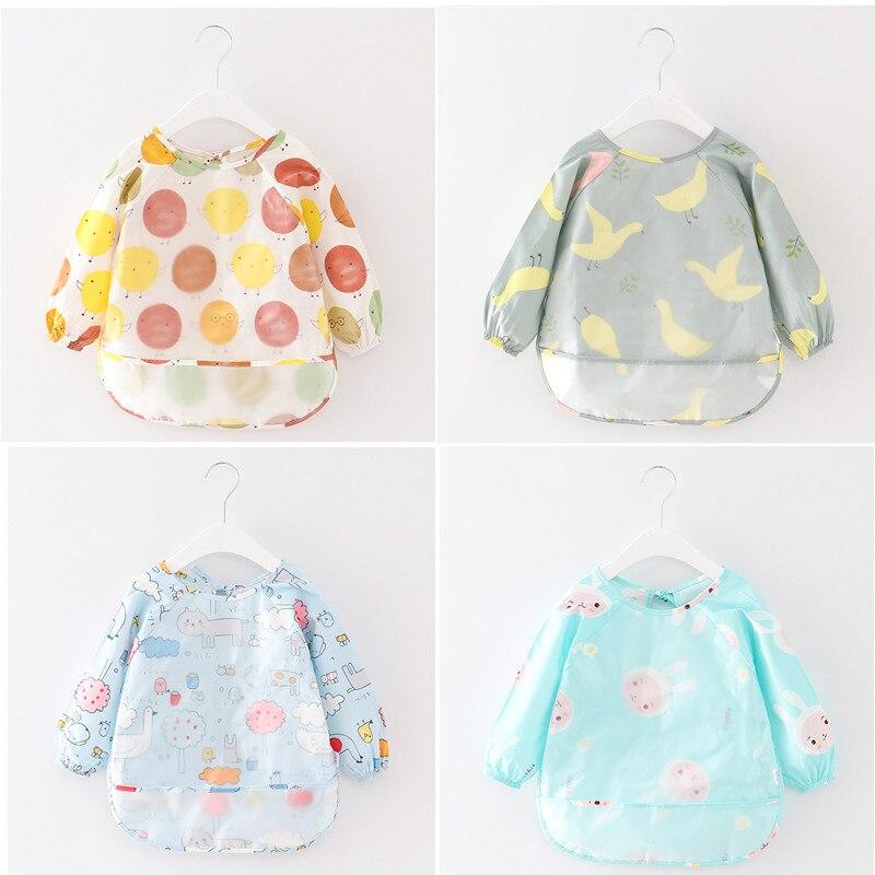 New Arrival  Cute Cartoon Baby Bibs Waterproof Colorful Infant Bib Full Sleeve Bibs Children Long Sleeve Apron F