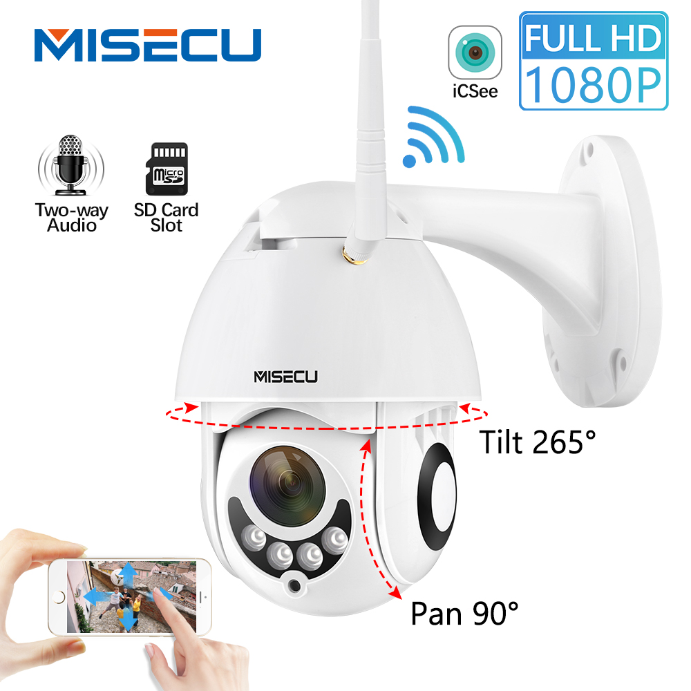 MISECU PTZ Wifi Wireless IP Security Camer 1080P Speed Dome Outdoor Waterproof Two Way Audio Night Vision CCTV  Surveillance 2MP