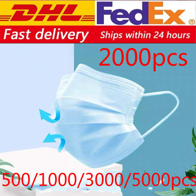 dhl free 500/800/1000/2000/5000pcs Disposable Face Mask Anti Virus flu Safety Masks safety Mask Face Mouth Mask