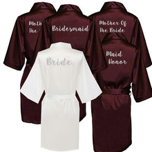 Owiter Burgundy Bride Bridesmaid Bridal Wedding Silk Satin Robes with Mother Sister of The Maid Honor Gift Kimono