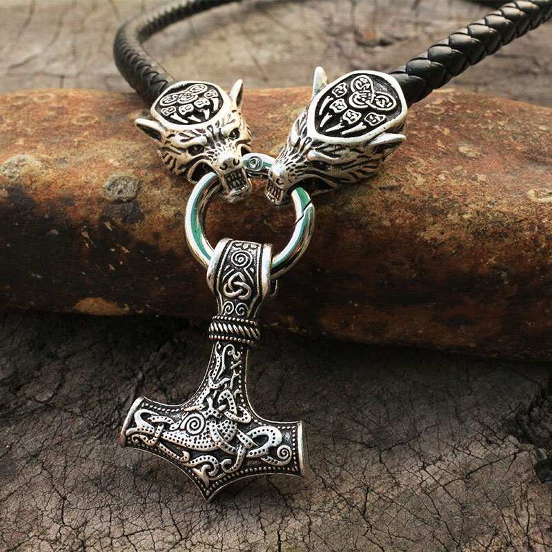 Men stainless steel necklace viking wolf head with thor's hammer mjolnir necklace pendan norse talisman ethnic jewelry