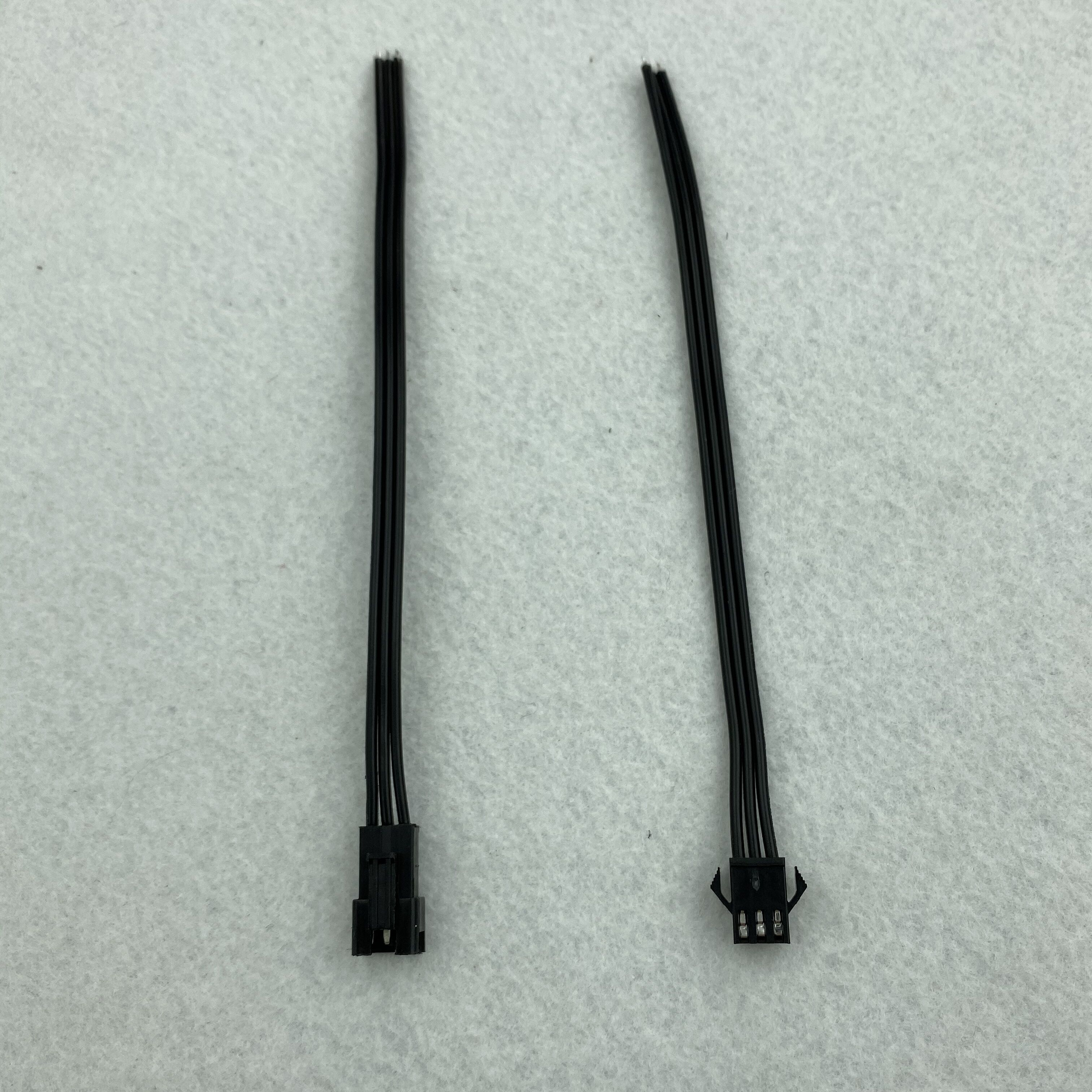 3PIN JST Plug And Socket,with 15cm Long Wire Each,20AWG Wire;all Black Wire