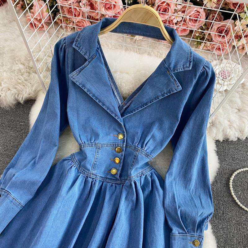 2021 Fashion New Spring Autumn Lapel V-neck Long Sleeve Open Back Denim Dress For Women Office Ladies Work Jeans Dresses Платье 34 Online shopping Bangladesh