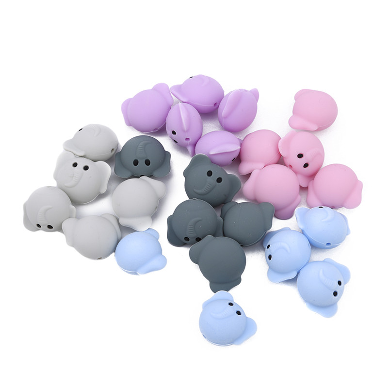 5 Pcs/Pack Hot Elephant Silicone Beads Baby Teether Jewelry Teething Nursing Accessories Chew Toy For DIY Necklace Bracelet