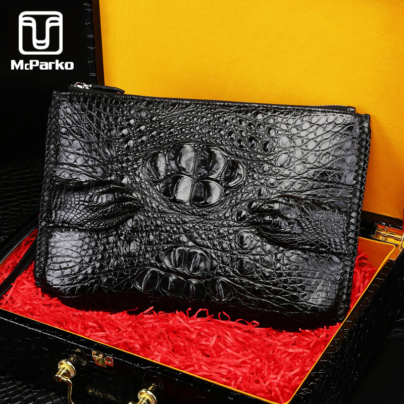 McParko Luxury Men's Clutch Wallet Crocodile Envelope Bag Genuine Leather Hand Bag Men Hiphop Handy Wallet Day Clutches Black