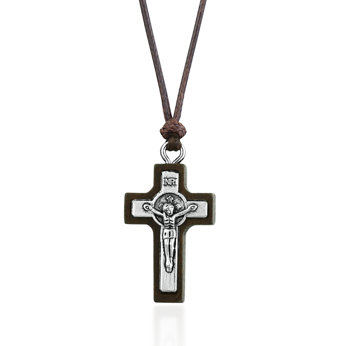 Catholic Small Wood Latin Cross Crucifix Pendant Necklace Religious Jesus INRI Necklace Church Jewelry for Women Men Gifts MN308(China)
