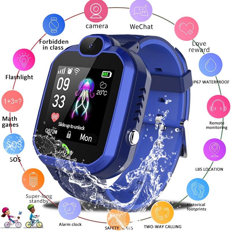 Lige 2019 nova criança relógio inteligente ip67 à prova dip67 água crianças estudante smartwatch sos chamada de emergência lbs posicionamento rastreador crianças relógio