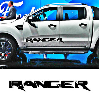 цена на free shipping 2pcs off road 4x4  side door of truck tail bed box stripes graphic vinyl car sticker for Ford ranger