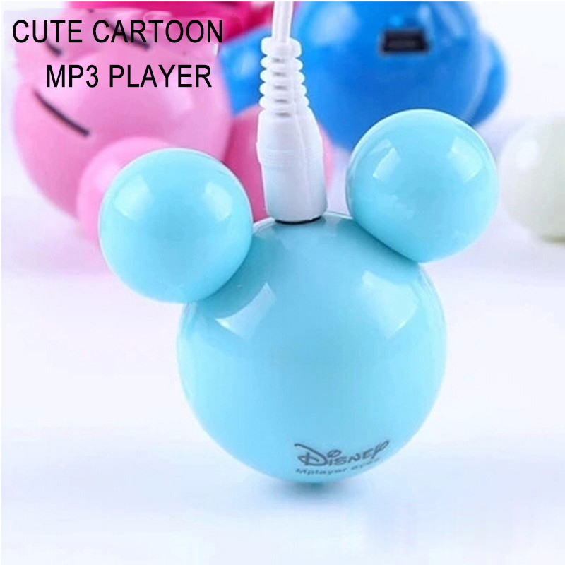 Mp3 Player Cartoon Cute Mouse Head Shape Mini MP3 Player Support 1-8GB Micro SD TF Card MP3 Music Player For Children Gift