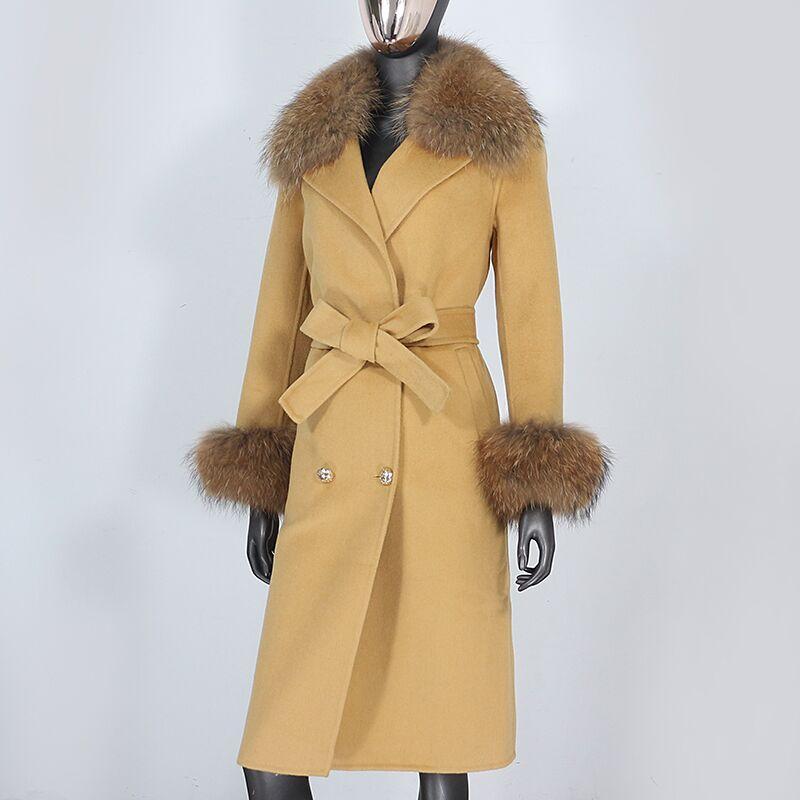 Heae5ebd876384834b11f431f07f7a8e58 2021X-Long Natural Mongolia Sheep Real Fur Coat Autumn Winter Jacket Women Double Breasted Belt Wool Blends Overcoat Streetwea