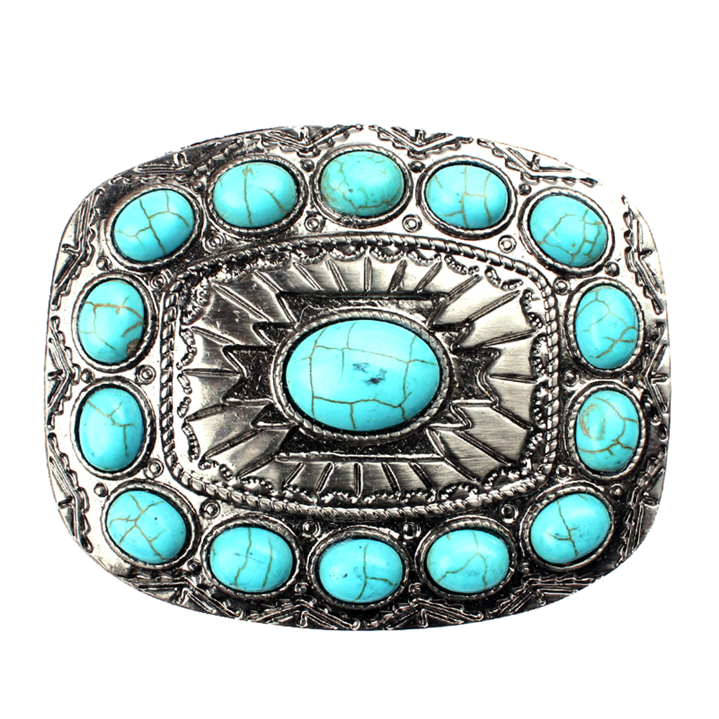 Western Cowboy Belt Buckle Turquoise Hip-hop Belt Accessories Fit Jeans Indian Rodeo Novelty Bead Decor Belt Buckle