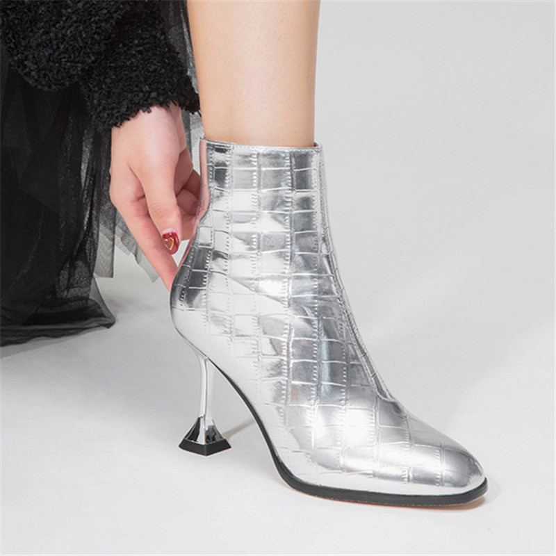 Image 4 - FEDONAS Fashion Women High Heels Ankle Boots Gold Silver Autumn Winter Party Wedding Prom Shoes Woman Sexy Pumps Female Boots-in Ankle Boots from Shoes