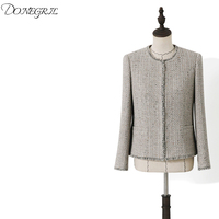Hgih Quality 2020 New tweed jacket Color fabric Tassel autumn / winter new women's jacket ladies woolen jacket coat