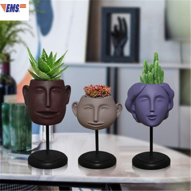 Abstraction nordique une famille de trois visage humain résine Vase bureau créatif bureau succulentes fleur Pot ornements x2971