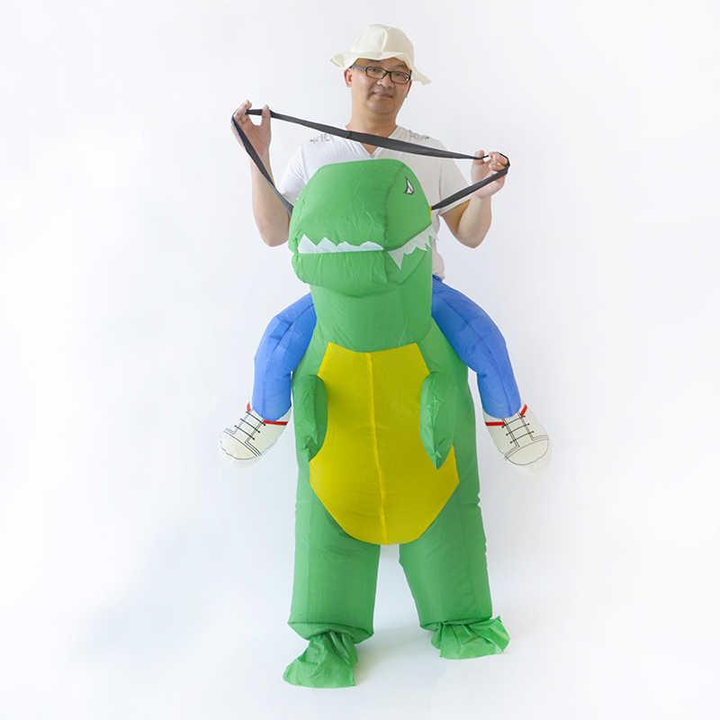 คริสต์มาสไดโนเสาร์ Inflatable Dino เครื่องแต่งกายฮาโลวีนเครื่องแต่งกายสำหรับผู้ชายผู้หญิงคอสเพลย์ T rex ตลกพรรค