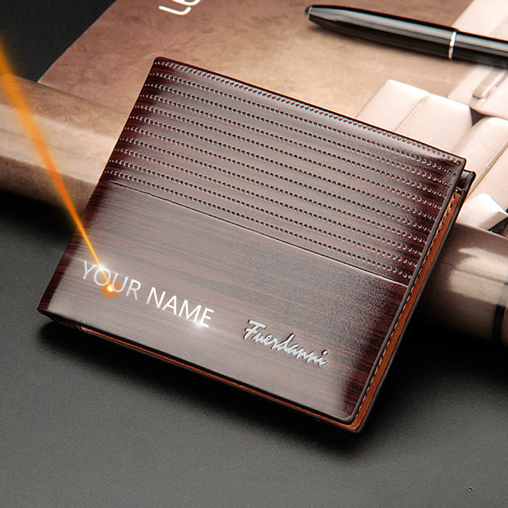 2020 New Customized Men Wallets Name Engraving High Quality  Short Card Holder Male Purse Vintage Coin Holder Men Wallets