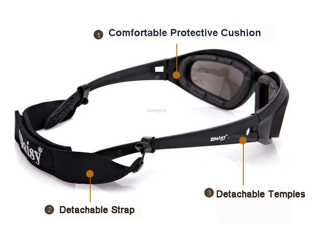 Купить с кэшбэком DAISY Polarized Army Goggles Military Photochromic Sunglasses 4Lens Kit Men's Desert Tactical Glasses Sporting Polarized Glasses