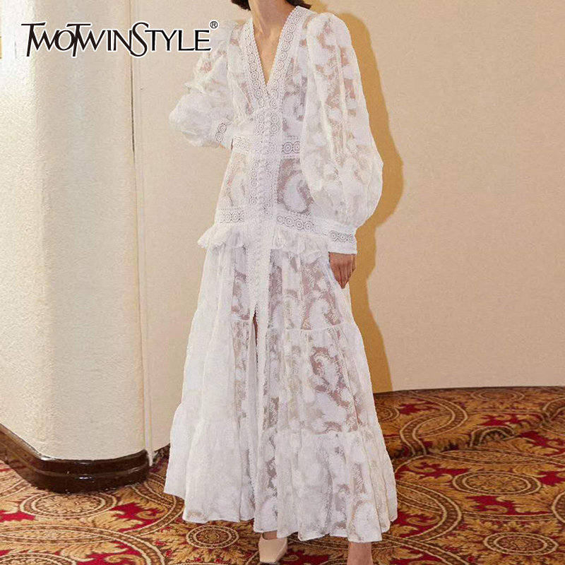 TWOTWINSTYLE Vintage Lace Women Dress V Neck Lantern Long Sleeve High Waist Patchwork Ruffles Dresses For Female Summer Fashion