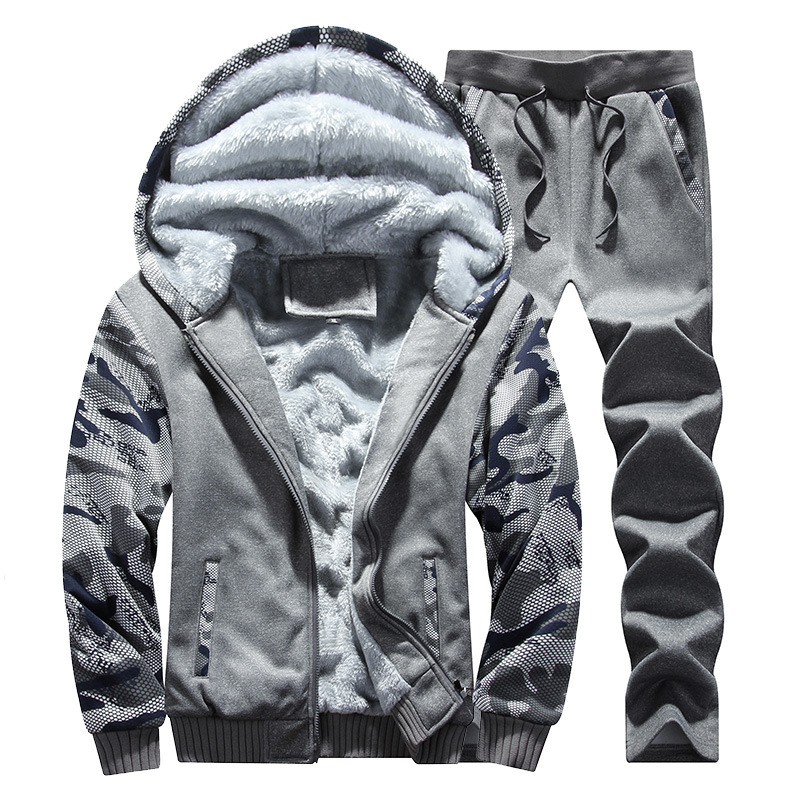 Autumn & Winter Plus Velvet Men's Sports Camouflage Two-Piece Set Men's Casual Thick Warm Coat Men'S Wear