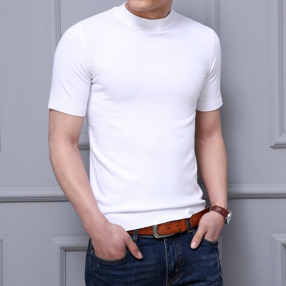 MRMT 2019 Brand New Men's T Shirt Short Sleeve Sweater Half Sleeve Sweater Line Sweater T-shirt For Male Solid Color Tops Tshirt