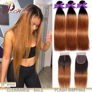 Image 1 - Honey Blonde Bundles With Closure Peruvian Straight Hair Ombre 3 Bundles With Closure 1B 30 Human Hair Weave Pinshair Remy Hair