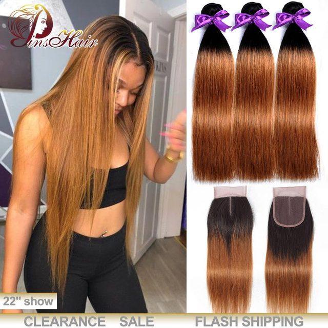 Honey Blonde Bundles With Closure Peruvian Straight Hair Ombre 3 Bundles With Closure 1B 30 Human Hair Weave Pinshair Remy Hair