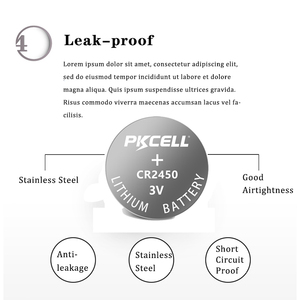 Image 5 - 5 Pcs PKCELL 600 MAH CR2450 3 V ECR2450 KCR2450 5029LC LM 2450 Lithium Batterie Knopfzellen
