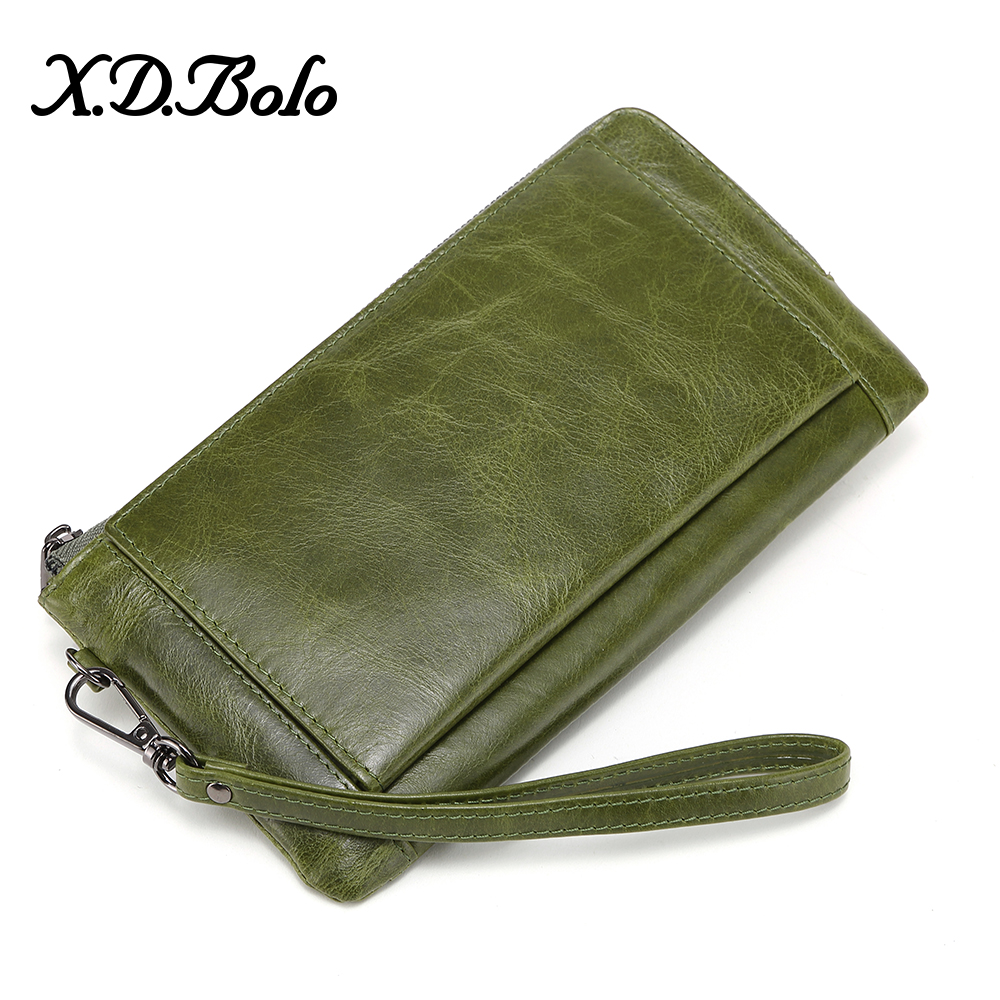 XDBOLO Genuine Leather Women's Wallet Leather Long Hasp Zipper Wallet Ladies Clutch Bag Purse 2020 New Female Luxury Coin Purses