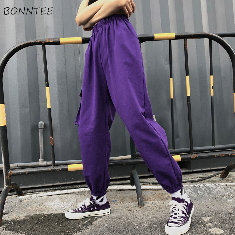 Pants Women Cotton Cargo Long Trousers Hip Hop Harajuku Womens High Waist Korean Style All-match Pockets Female Trendy Leisure